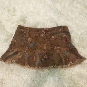 Rue21 Brown & Floral Mini-Skirt